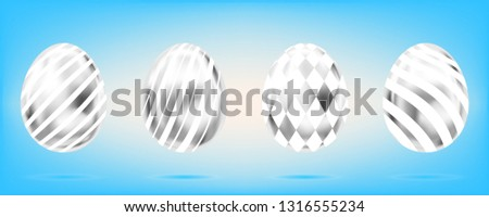 four silver eggs on the sky