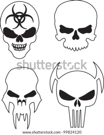 Four skulls with a bio-hazard symbol