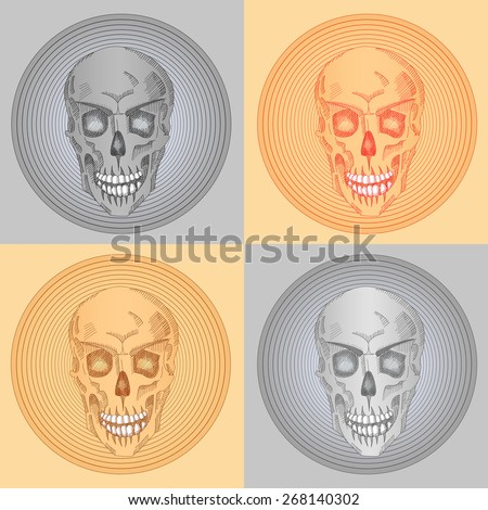 four skulls with halos  beige