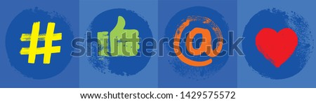 Four Social Media Symbols, Blue,  Like Hand, Hashtag, At Symbol, Love Symbol, Grunge, Wide Format, Liking, Illustration, Online Presence, Digital Marketing, Internet Concepts, Posting, Following, Apps