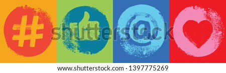 Four Social Media Symbols, Colorful,  Like Hand, Grunge Texture, Wide Format, Snapchat, Social Media, Color, Marketing, Influencer, Instagram Followers, Facebook likes, Digital Marketing, Banner, Fun