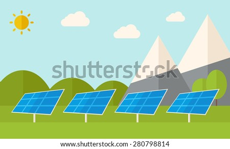 Four solar panels standing under the heat of the sun use for energy alternative. A Contemporary style with pastel palette, soft blue tinted background with desaturated clouds. Vector flat design