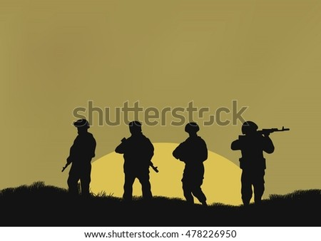 four soldiers on a background a