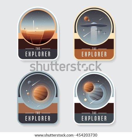 four space badge emblems with