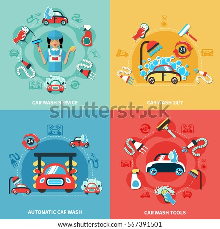 stock-vector-four-square-car-wash-colorful-compositions-with-cartoon-cars-cleaning-agents-and-tools-images