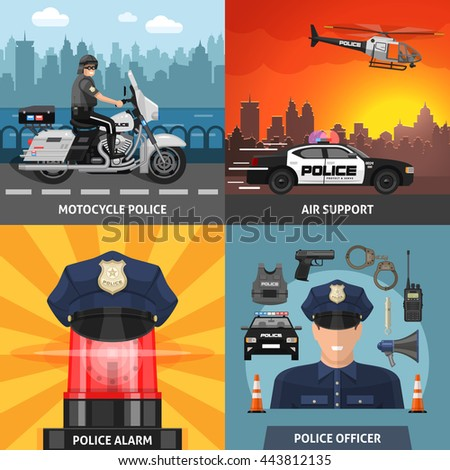 four square colored police icon