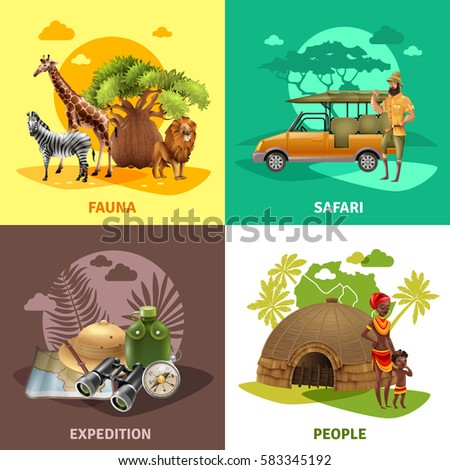 Four square isolated safari design icon set with fauna safari expedition and people descriptions vector illustration