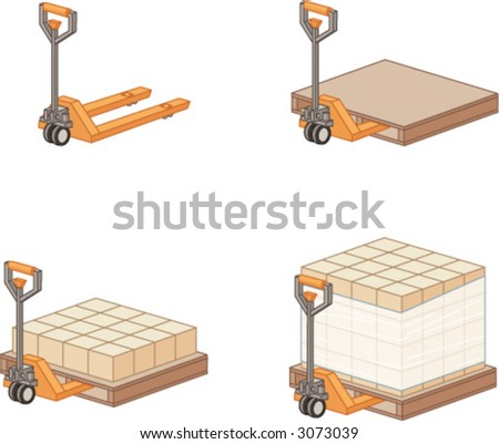 Four stages of a pallet-jack with boxes