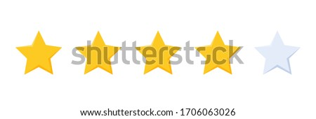 four stars rating button for experience reviews on application or website ,stars rating icon vector