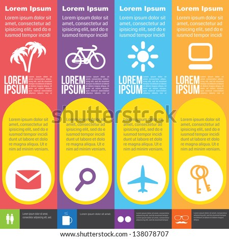 Four steps for infographics options. Four vertical numbered banners