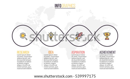 Four steps infographics. Linear infographic element with 4 parts.