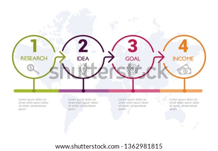 Four steps infographics, timeline - can illustrate a strategy, workflow or team work.
