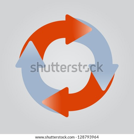 Four sticky arrows in circle. Concept of cycle, circulation. Can
