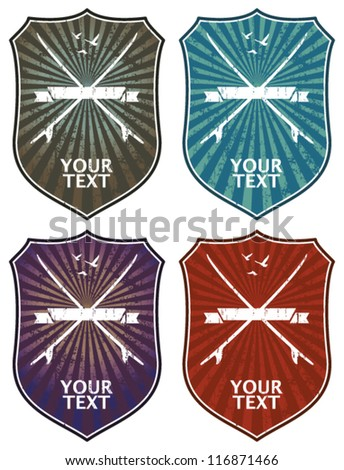 four surf shields with tables - stock vector