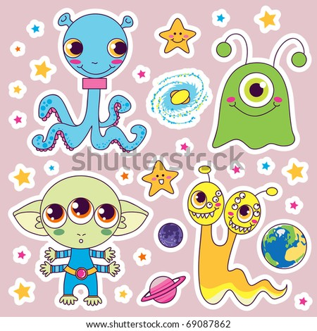 Four sweet cute child alien monsters with planets and happy stars