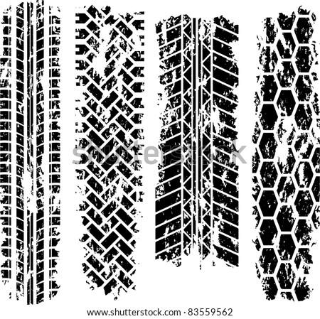 Four tire tracks - stock vector