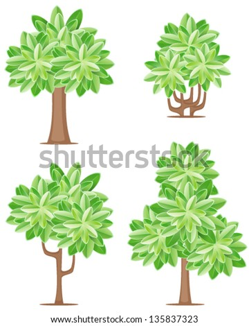 Four tree icons
