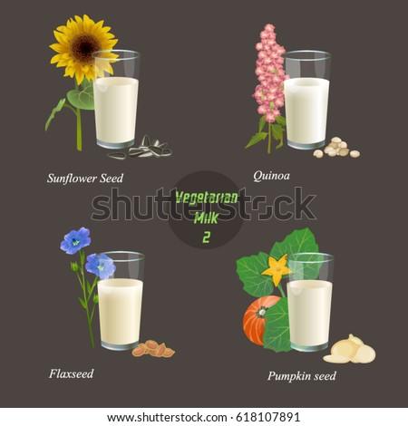 four types of vegetarian milk