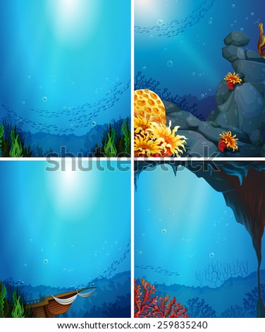 four underwater scenes with