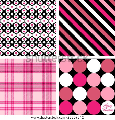 Four Valentine Patterns Vector - stock vector