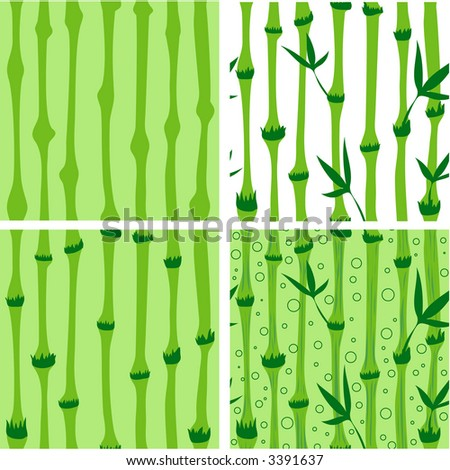 Four variations, in various levels of detail of an upbeat and happy SEAMLESS bamboo background.  Very handy for illustrations dealing with spas, salons, etc.