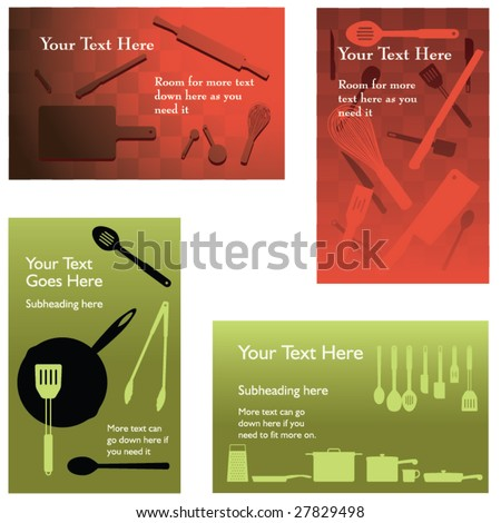Four vector catering backgrounds (placeholder text easily removed)