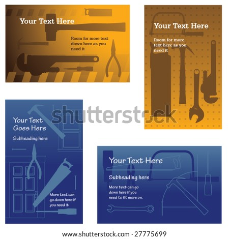 Four vector construction backgrounds (placeholder text easily removed)