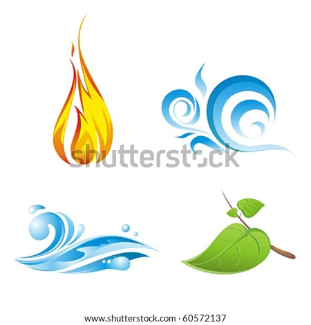 Four vector elements of nature isolated on white
