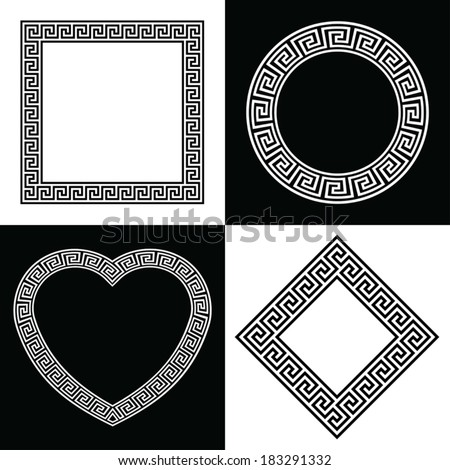 Four Vector Greek Key Border Frame Shapes