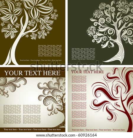 Four  vector samples of design with decorative tree from colorful autumn leafs and place for text. Thanksgiving