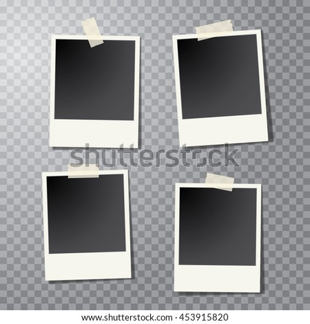 four vector taped vintage photo frames with transparent shadow #453915820