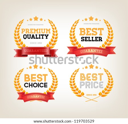 Vector Golden Banners And Award Ribbons Download Free