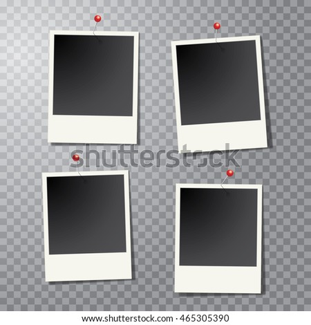 four vector vintage blank instant photo frames with pins and transparent shadow #465305390