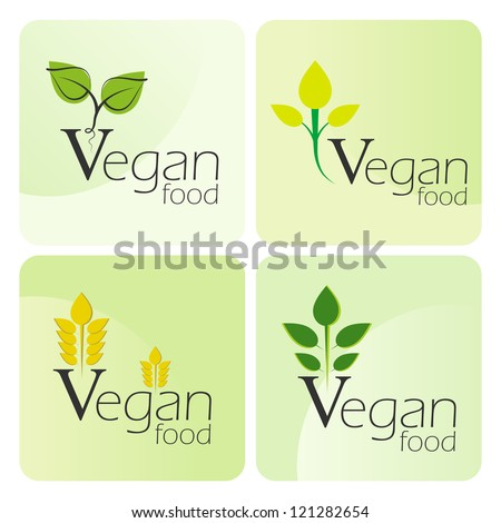 Four Vegan food labels. - stock vector
