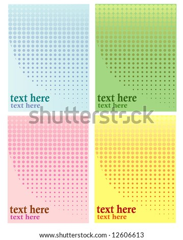 Four versions of a background halftone illustration using distinct colors and corresponding hues and shades, plenty of copyspace for text