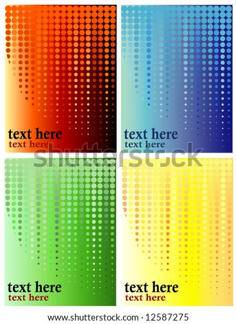 Four versions of a background halftone illustration using distinct gradients and corresponding hues and shades to color dots and cirlces, plenty of copyspace for text