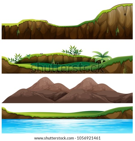 Four views of mountain and river illustration