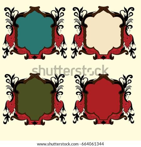 Four vintage frame vectors design
