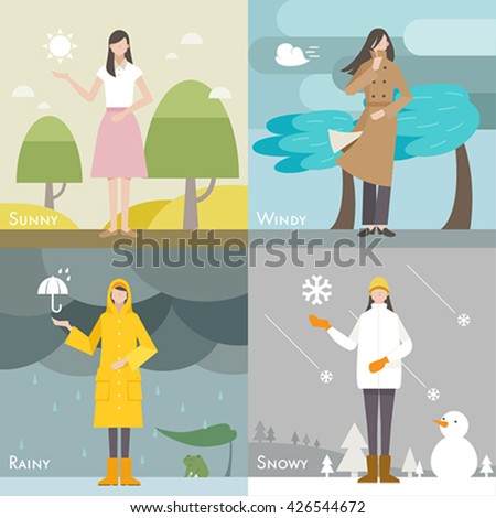 four weather caster vector illustration Sunny,Windy,Rainy,Snowy