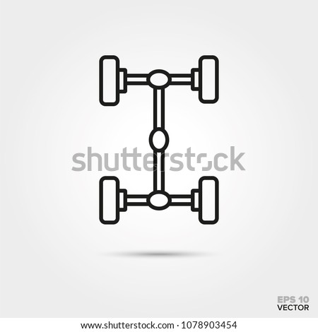 four-wheel drive car axles vector icon. Automotive parts, repair and service symbol.  Stock photo ©