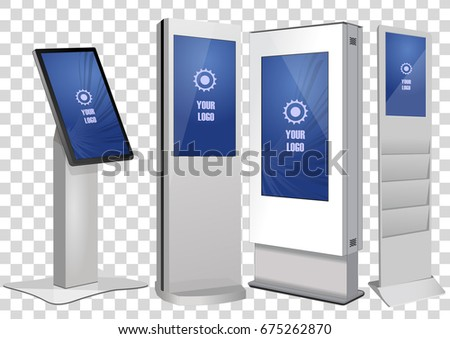 Four White Promotional Interactive Information Kiosk, Advertising Display, Terminal Stand, Touch Screen Display isolated on transparent background. Mock Up Template.