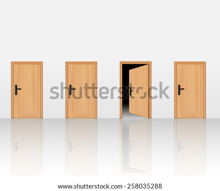 four wooden doors on the wall