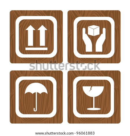 four wooden sign square isolated over white background. vector