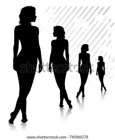 Four young harmonous high naked women stands on the floor. Silhouette. Illustrator 8.