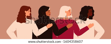 Four young strong women or girls standing together. Group of friends or feminist activists support each other. Feminism concept, girl power poster, international women's day holiday card. Vector