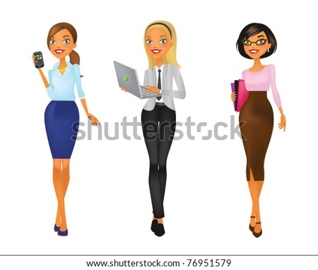 four young women in business