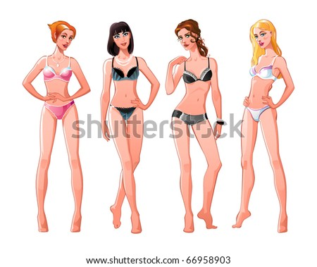 Four young women-models in color underwear. European, young, slim and pretty. Red-haired, brunet, brown-haired and blonde.