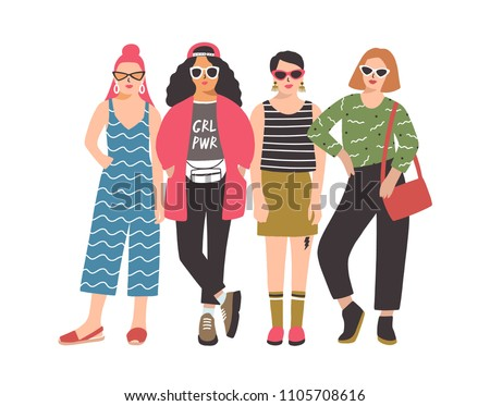 Four young women or girls wearing stylish clothing standing together. Group of female friend, feminists or feminism activists. Cartoon characters isolated on white background. Vector illustration.