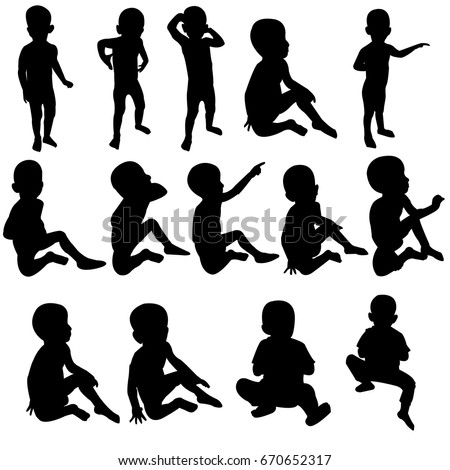 Fourteen silhouettes with children over white background