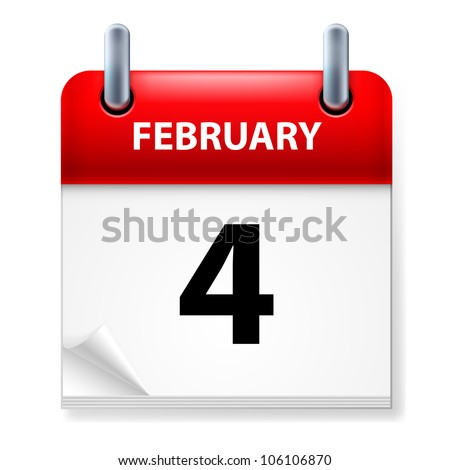 Fourth February in Calendar icon on white background